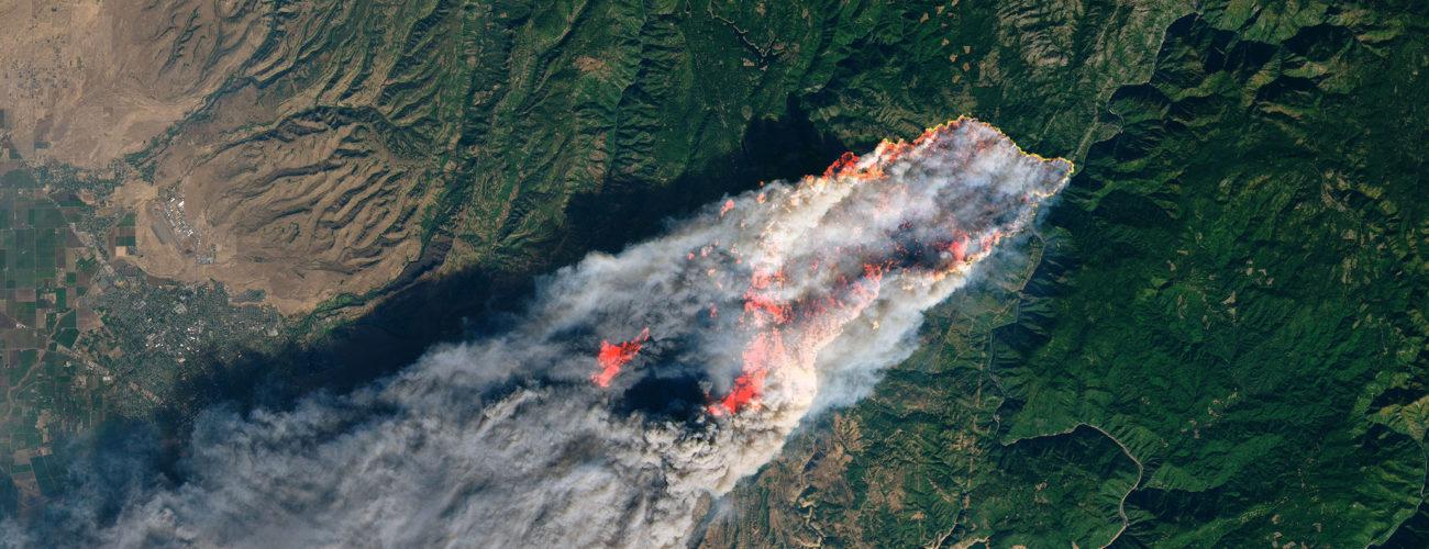 Imagen satélite de un incendio